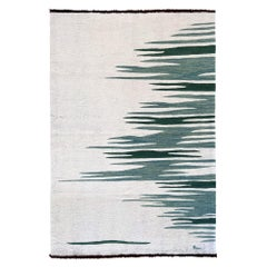 Ege No 2 Contemporary Modern Kilim Rug, Wool Handwoven Dune White & Green