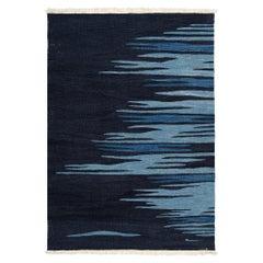 Ege No 2 Contemporary Modern Kilim Rug, Wool Handwoven Midnight & Blue