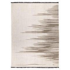Ege No 3 Contemporary Modern Kilim Rug, Wool Handwoven Dune White & Earthy Gray