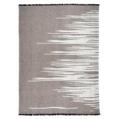 Ege No 3 Contemporary Modern Kilim Rug, Wool Handwoven Earthy Gray & Dune White