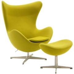 Egg Chair and Ottoman by Arne Jacobsen for Fritz Hansen, Chartreuse, Tilt Swivel
