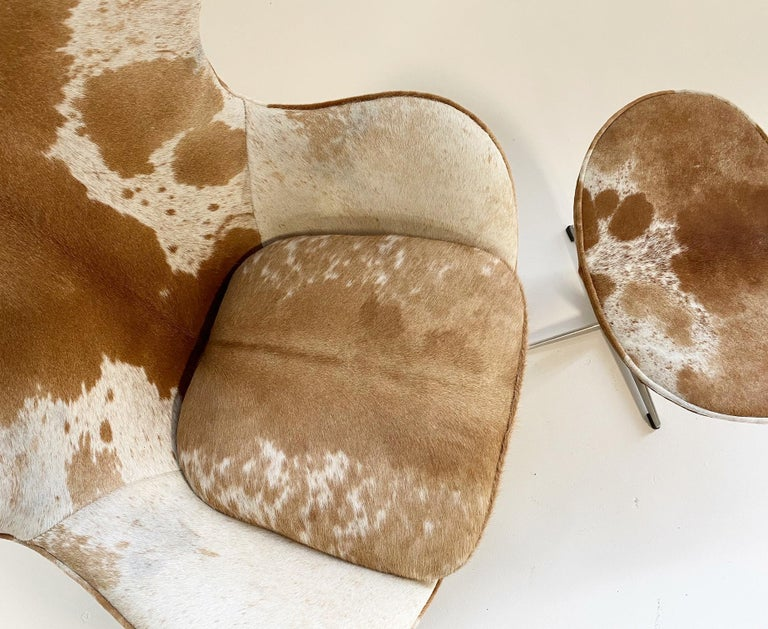 Danish Egg Chair and Ottoman in Brazilian Cowhide For Sale