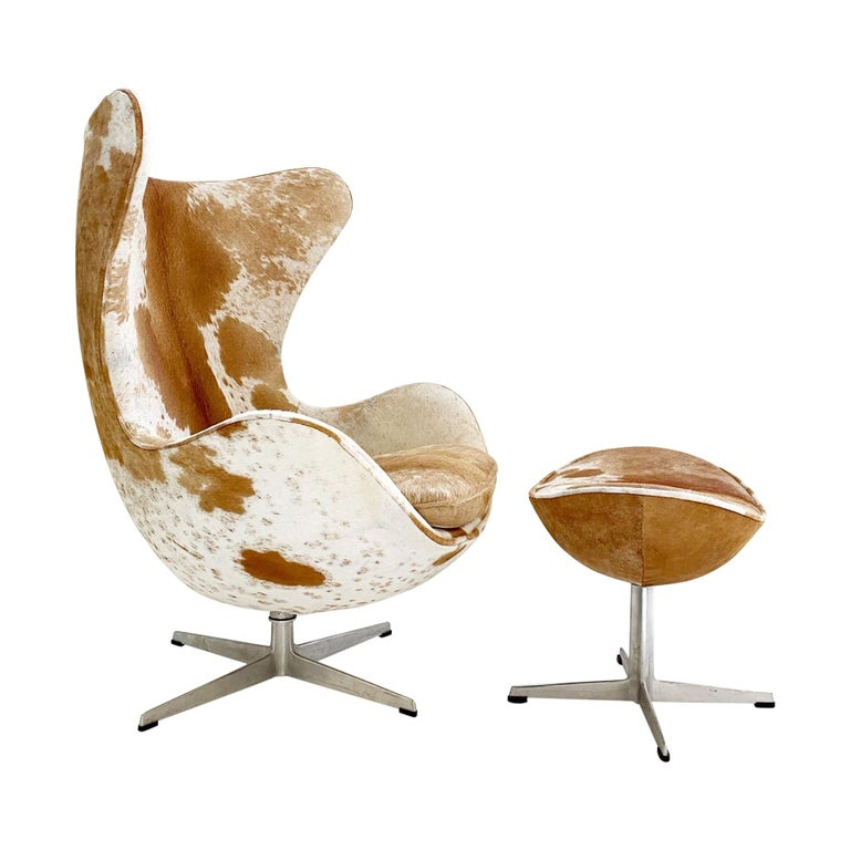 Egg Chair And Ottoman In Brazilian Cowhide At 1stdibs