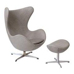 Egg Chair by Arne Jacobsen for Fritz Hansen in Gray Leather, 1960s