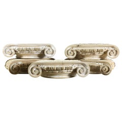 Egg and Dart Beaded Hand Carved Capitals, 20th Century
