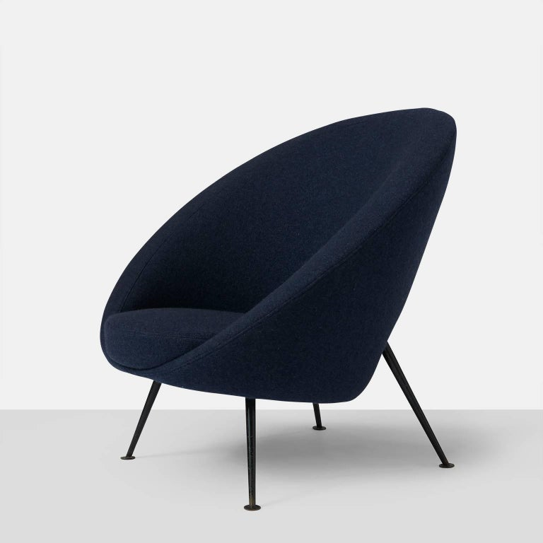 """An """"Egg"""" chair by Ico Parisi. This egg chair, also known as model no. 813 by Italian designer Ico Parisi comes in a beautiful dark blue original upholstery and stands on elegant black metal legs. The chair was designed in 1951 for Cassina and"""