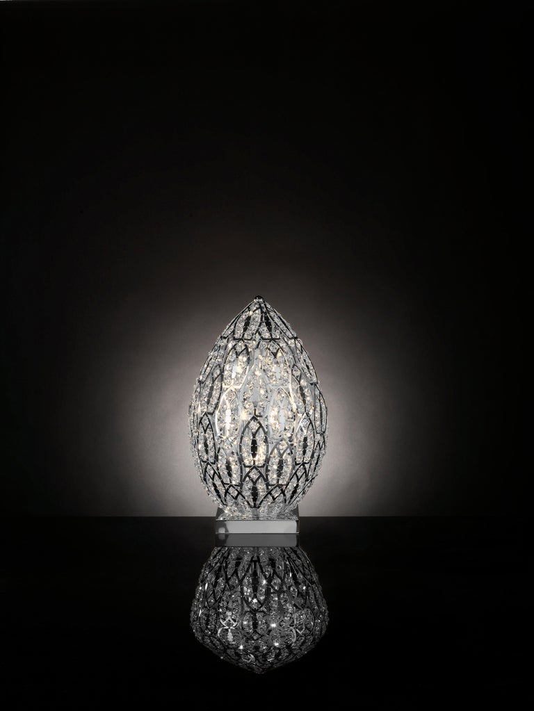 Modern Egg Medium 1 Table Lamp, Chrome Finish, Arabesque Style, Italy For Sale