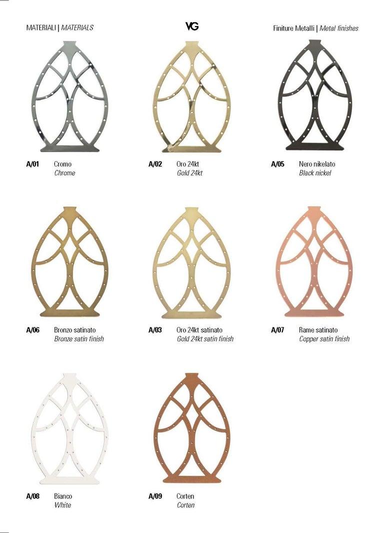 Carved Egg Medium 1 Table Lamp, Chrome Finish, Arabesque Style, Italy For Sale