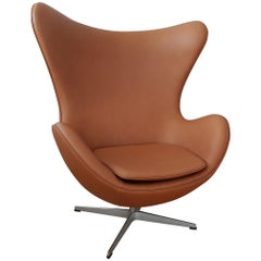Egg, Model 3316, Calvados Classic Leather by Arne Jacobsen for Fritz Hansen
