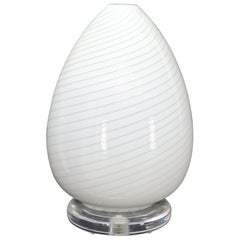 Egg Shape Murano Glass Swirl Pattern Table Lamp