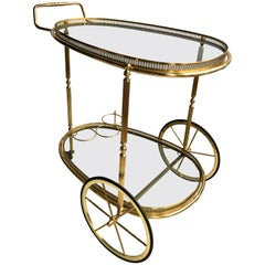 Egg Shaped Vintage Brass Drinks Trolley Bar Cart