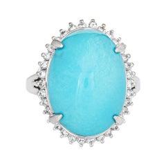 Egg Shell Blue Turquoise Diamond Ring Platinum Estate Large Cocktail Jewelry