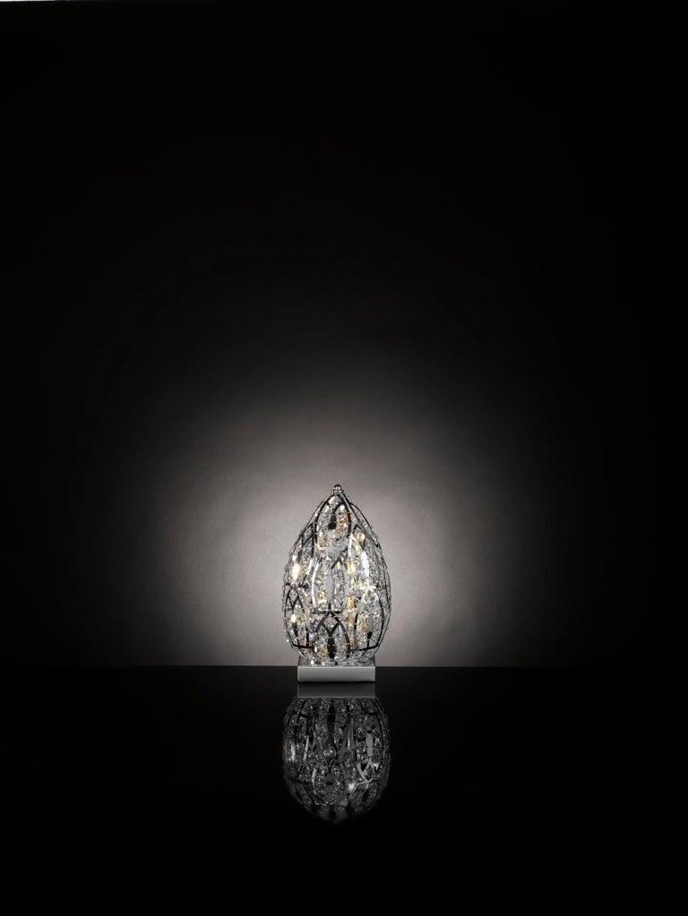 Italian Egg Small Table Lamp, Chrome Finish, Arabesque Style, Italy For Sale