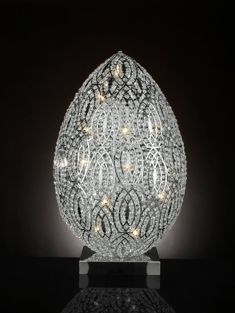 Carved Egg Table Lamp, Chrome Finish, Arabesque Style, Italy For Sale