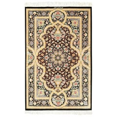 Eggplant Background Fine Modern Silk Persian Qum Rug. Size: 2 ft 6 in x 4 ft