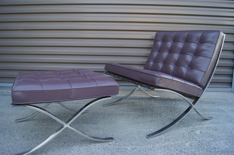 Bauhaus Eggplant Leather Barcelona Chair and Ottoman by Mies Van Der Rohe for Knoll For Sale