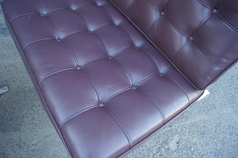 American Eggplant Leather Barcelona Chair and Ottoman by Mies Van Der Rohe for Knoll For Sale