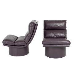 Eggplant Leather Scoop Chairs on Swivel Bases, circa 1980s