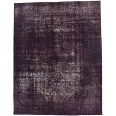 Eggplant-Plum Overdyed Distressed Vintage Turkish Rug with Industrial Luxe Style