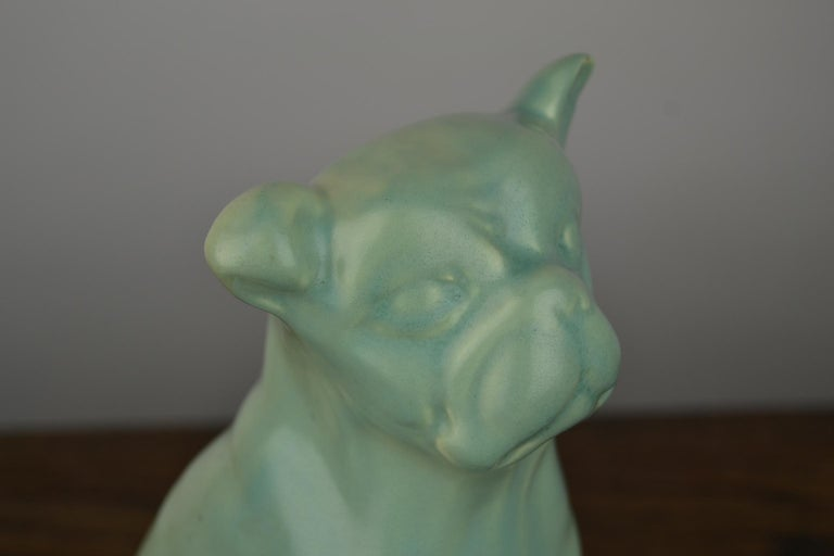 Eggshell Green Art Deco Porcelain Bulldog Figurine, 1930s For Sale 6