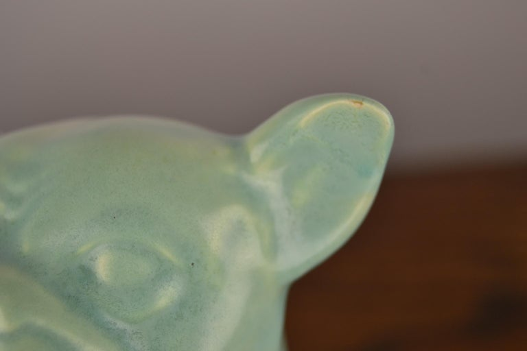 Eggshell Green Art Deco Porcelain Bulldog Figurine, 1930s For Sale 7