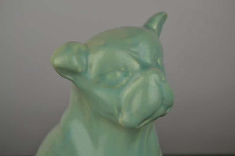 Eggshell Green Art Deco Porcelain Bulldog Figurine, 1930s In Good Condition For Sale In Antwerp, BE