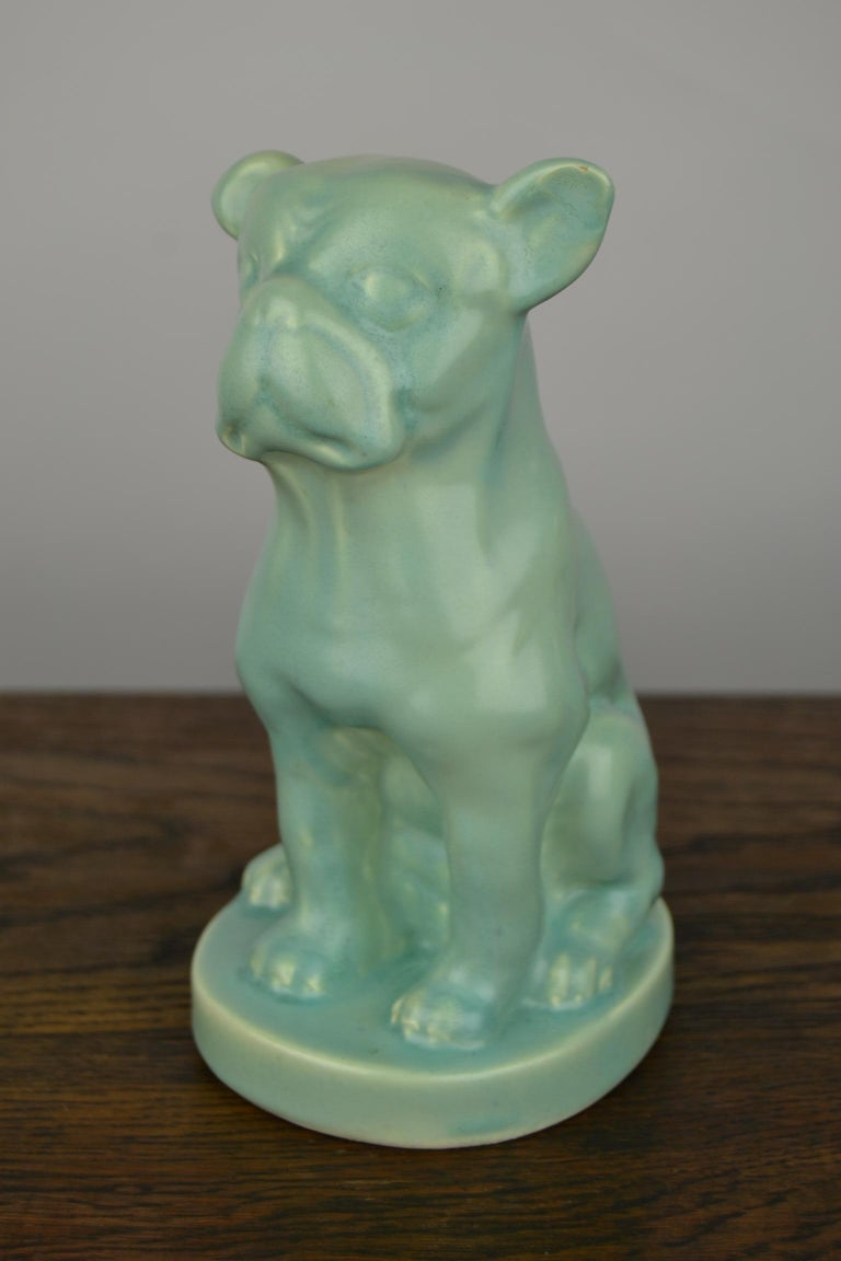 Eggshell Green Art Deco Porcelain Bulldog Figurine, 1930s For Sale 2
