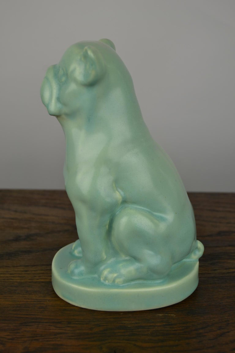 Eggshell Green Art Deco Porcelain Bulldog Figurine, 1930s For Sale 3