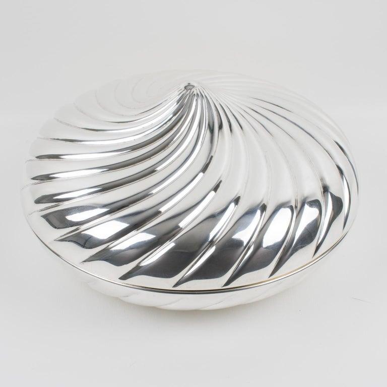 Modern Egidio Broggi, Milano Oversized Silver Plate Swirled Box For Sale
