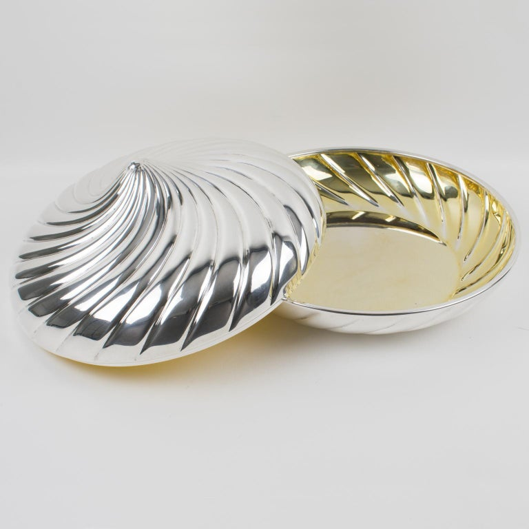 Italian Egidio Broggi, Milano Oversized Silver Plate Swirled Box For Sale
