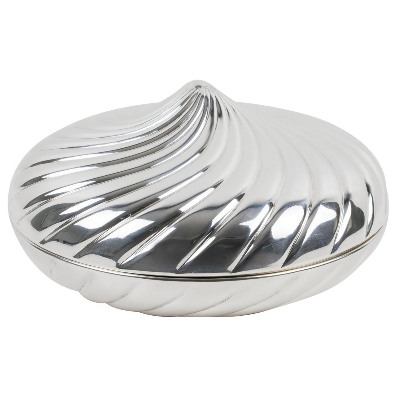 Egidio Broggi, Milano Oversized Silver Plate Swirled Box