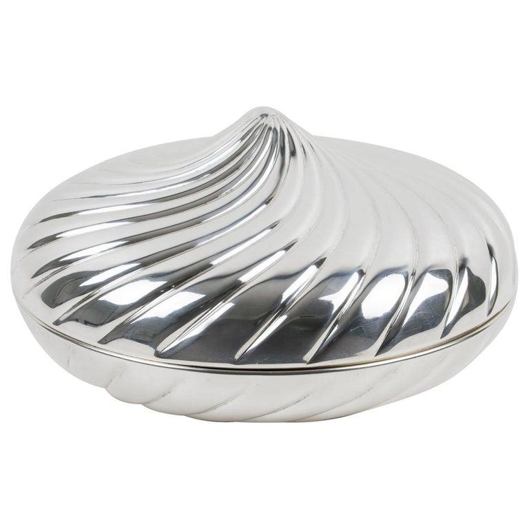 Egidio Broggi, Milano Oversized Silver Plate Swirled Box For Sale
