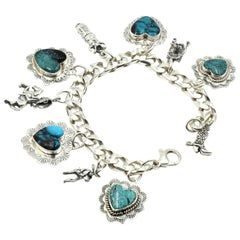 EGK Jewelry Sterling Silver Turquoise Charm Bracelet