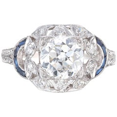 EGL 1.30 Carat Diamond Sapphire Engraved Platinum Edwardian Engagement Ring