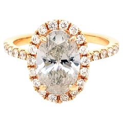 EGL 2.20 Carat E/SI2 Oval Shape Diamond 18K Pave Set Engagement Ring with Halo