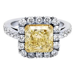 EGL 2.49 Ct Fancy Light Yellow Radiant Pave Set 18K Engagement Ring with Halo