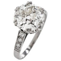 EGL 2.62cts Old European Cut Diamond Engagement Ring