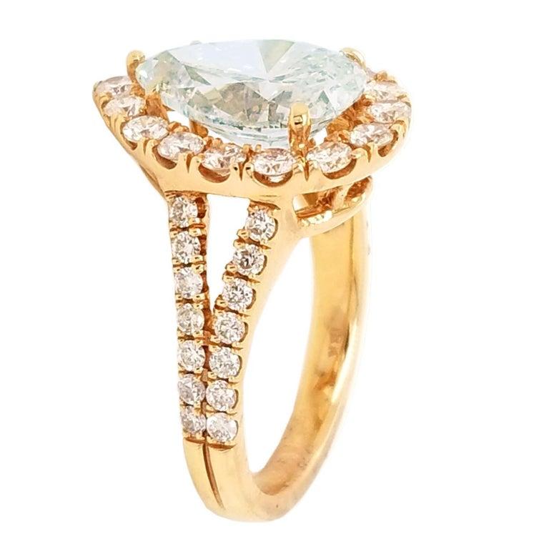 Pear Cut EGL 4.01 Ct I/VS2 Pear Shape Diamond 18K Split Shank Pave Set Ring with Halo For Sale
