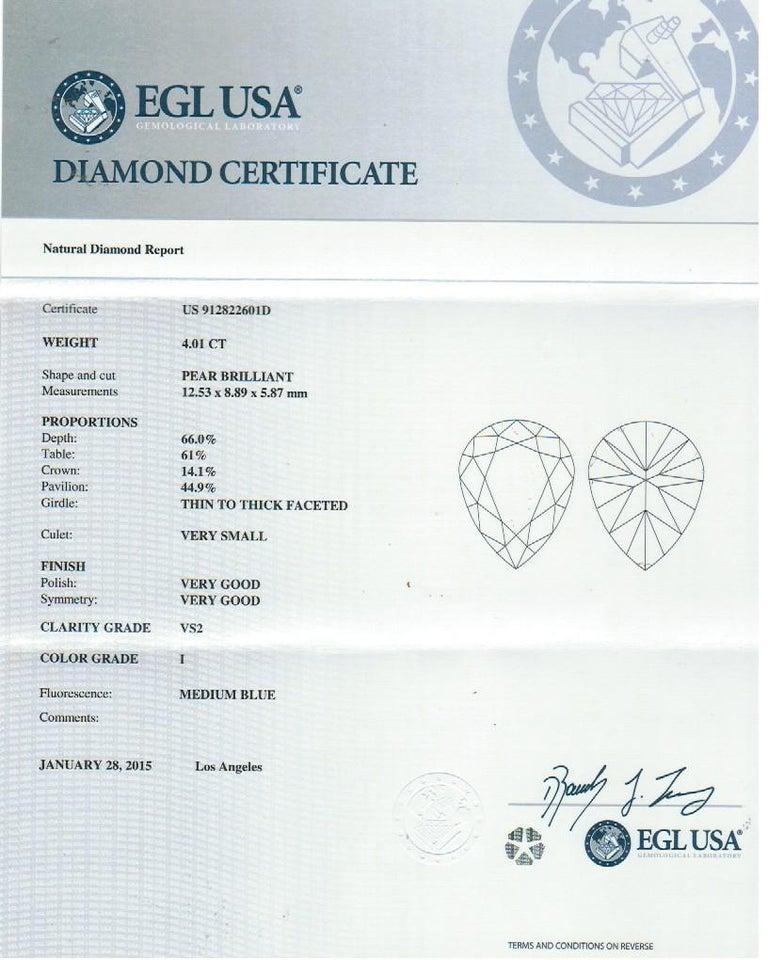 Women's EGL 4.01 Ct I/VS2 Pear Shape Diamond 18K Split Shank Pave Set Ring with Halo For Sale