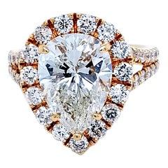 EGL 4.01 Ct I/VS2 Pear Shape Diamond 18K Split Shank Pave Set Ring with Halo