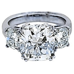 EGL 5.05 Carat K/VS2 Cushion Diamond 18K 3-Stone Engagement Ring