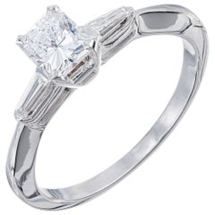 EGL .65 Carat Cushion Cut Diamond White Gold Three-Stone Engagement Ring