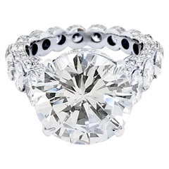 EGL 7.01 Ct Round Diamond 18K Shared-Prong Set Eternity Style Engagement Ring