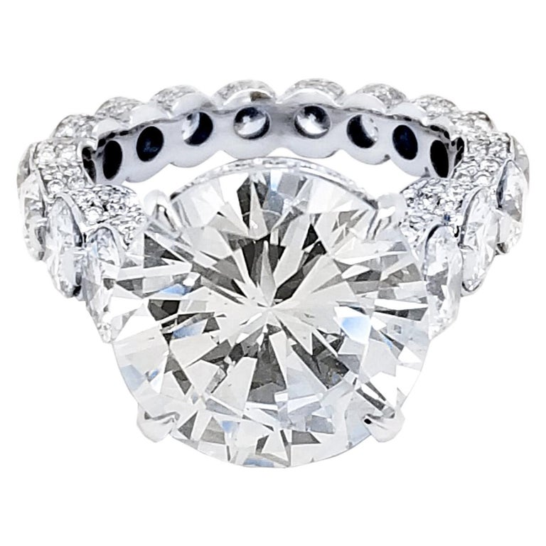 EGL 7.01 Ct H/SI1 Round Diamond 18K Pave/Shared-Prong Set Eternity Style Ring For Sale