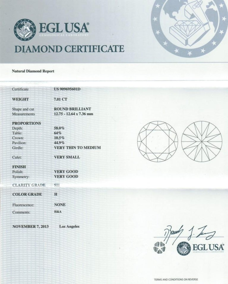 EGL 7.01 Ct Round Diamond 18K Shared-Prong Set Eternity Style Engagement Ring For Sale 5