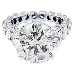 EGL 7.01 Ct Round Diamond 18K Shared-Prong Set Eternity Style Engagement Ring