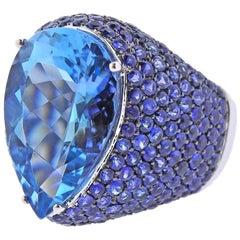EGL 9.40 Carat Aquamarine Sapphire Gold Cocktail Ring