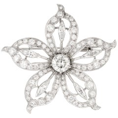 EGL Certificate 1.20 Carat Diamond White Gold Flower Brooch