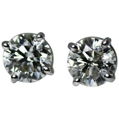 EGL Certificate 2.07 Carat Round G/H SI3 Stud Earrings