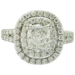 EGL Certified 1 Carat Cushion Diamond Double Halo Engagement Ring 18 Karat Gold